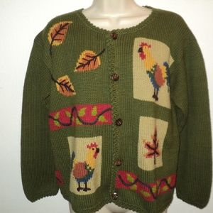 Rey Wear FALL Cardigan Sweater S Leaves, Roosters